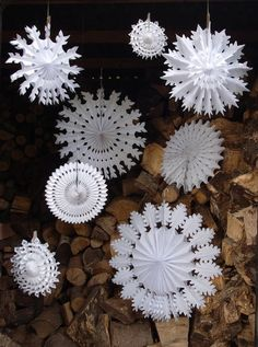 Set Of Eight Paper Snowflake Decorations set of eight paper snowflake decorations by petra boase Christmas Ceiling Decorations, Snowflake Decorations, Paper Decorations, Christmas Fayre Ideas, Kids Christmas, Photomontage, Diy Paper, Paper Crafts, Paper Art