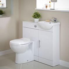 Ensemble Meuble sous Lavabo & Toilette WC Blanc 920 x 752 x 810mm Sienna - Image 1