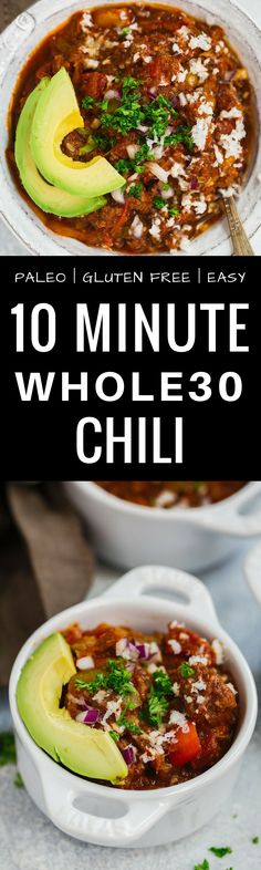 Easy 10 minute Whole30 Chili Recipe. Easy Whole30…