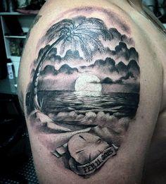 Upper Arm Sand Dollar Beach Tattoo For Men