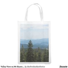 Valley View on Mt Shasta Reusable Bag Reusable Grocery Bag Reusable Grocery Bags, Valley View, Green Bag, Tote Bag, Carry Bag, Tote Bags