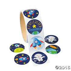 Space Sticker Roll Fun stickers for an Outer Space Party! Kids will enjoy these. Hand them out in treat loot bags, too. stickers per roll) cm Outer Space Theme, Outer Space Party, Party Kit, Party Shop, 80s Party, Star Party, Astronaut Party, Fun Express, Oriental Trading