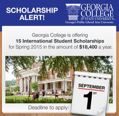 Today on StudyLifeUSA: Georgia College International Student Scholarships – Apply Now! Georgia College is offering 15 International Student Scholarships for Spring 2015 in the amount of $18,400 a year. Apply now – the deadline is September 1st, 2014 Read the full post here: http://studylifeusa.blogspot.com/2014/08/georgia-college-international-student.html #InternationalStudentScholarship #GeorgiaCollege
