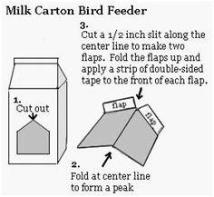 WELCOME TO ALL: Milk Carton Bird Feeder Bird Feeders For Kids To Make, Make A Bird Feeder, Bird Feeder Craft, Bird Identification, Diy Bird Bath, Teaching Special Education, Bird Houses Diy, Thing 1, Backyard Birds