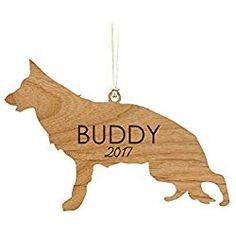 Personalized German Shepherd Christmas Ornament Engraved Wood Cut Ornament