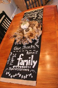 Priscillas: Faux Chalkboard Table Runner and Burlap Centerpiece