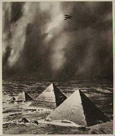 Alfred Buckham, The Pyramids In A Storm, Giza, Egypt, Ancient Ruins, Ancient Art, Ancient Egypt, Ancient History, Osiris Isis, Pyramids Of Giza, Giza Egypt, Sphinx, Great Pyramid Of Giza