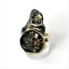 Pyrite Crystal Quartz Doublet Ring, Textured Sterling Silver Ring with Pyrite Crystal Quartz Doublet, Unique Gemstone Jewelry, Gemstone Ring Agate Jewelry, Aquamarine Jewelry, Garnet Jewelry, Garnet Gemstone, Gemstone Rings, Anniversary Jewelry, Doublet, Beautiful Necklaces, Sterling Silver Necklaces