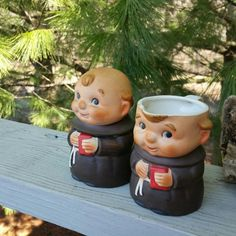 Friar Tuck Monk Cream & Sugar Set Made in Japan by OldFangledFinds