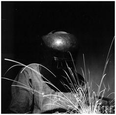 Portrait of a Man wearing a welder mask 1955 Photo Andreas Feininger