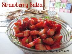 Strawberry Salsa is a delicious treat during the summer. Eat it with sweet chips or salty.