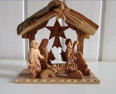 Vintage Wood Carved Nativity Scene, Wooden Nativity Set Hand Carved Figurines, Christmas Creche Manger Scene, Christmas Nativity Set by Grandchildattic on Etsy