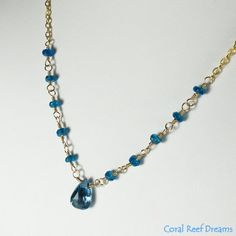 London Blue Topaz and Neon Blue Apatite Chain by CoralReefDreams, $52.00