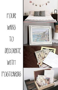 Do you have a box of old postcards laying around? Here are four ways to decorate with them!