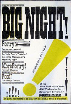 Big NIght Letterpress poster for Just Buffalo Literary Center - Oct 2010