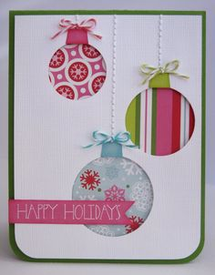 Echo Park Happy Holidays Ornament Card by Mendi Yoshikawa