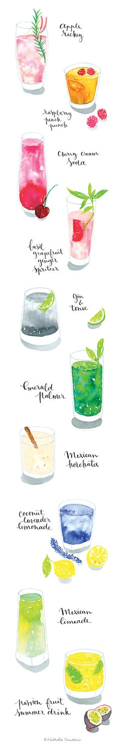 Watercolor illustrations of cocktails Illustration Mode, Food Illustrations, Watercolor Illustration, Cocktail Illustration, Watercolor Food, Watercolor Paintings, Watercolours, Food Sketch, Whatsapp Wallpaper