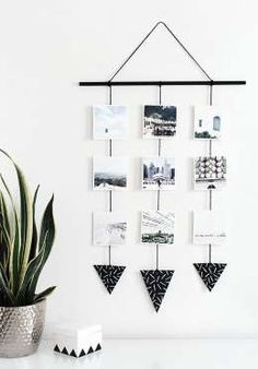 9 Stylish DIYs to Turn Your Instas Into Art ---Black and white geometric accents make this hanging wall art a minimalist's dream.Get the tutorial o... - Provided by Good Housekeeping