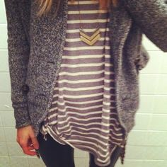 OFFICE: grey cardigan + purple patterned tank + black pencil skirt/black slacks