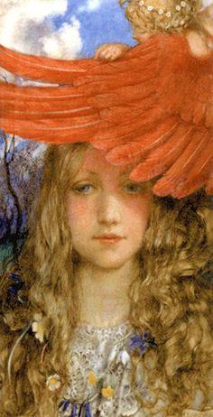 """The Blush"" artist: Eleanor Fortescue Brickdale John Everett Millais, English Artists, British Artists, Angels Among Us, Pre Raphaelite, Victorian Art, Victorian Paintings, Statue, Art Blog"