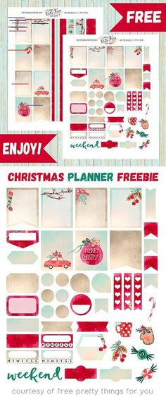 Shabby Chic Decorating Kit / Weekly Spread Planner Stickers for Erin Condren Planner, Filofax, Plum Paper To Do Planner, Free Planner, Happy Planner, Student Planner, Planner Ideas, Planer Organisation, Office Organization, Printable Planner Stickers, Christmas Stickers