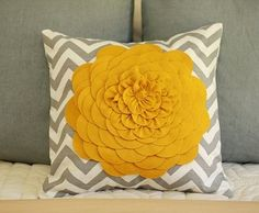 Mustard and gray pillow -- LOVE