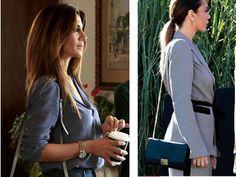 Ufak Tefek Cinayetler Gökçe Bahadır / Oya gri takım markası Opiapr. Oya siyah çanta markası Furla.