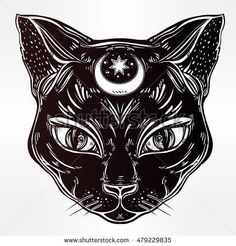Black cat head portrait with moon. Ideal Halloween background, tattoo art, Egyptian, spirituality, boho design. Perfect for print, posters, t-shirts and textiles. Vector illustration. Tap the link Now - All Things Cats! - Treat Yourself and Your CAT! Stand Out in a Crowded World!