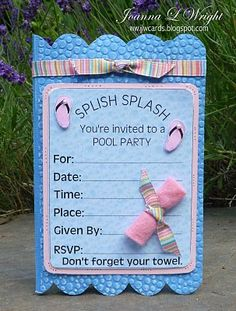 i love 2 cut paper: Pool Party Invitation Shaped Card