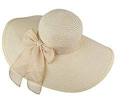 ericotry Womens Big Bowknot cappello di paglia Beach Cap Beachwear floppy  cappello pieghevole arrotolabile grandi cappelli a tesa larga cappello da  sole UPF ... c65d0512fbcd