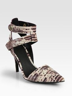 Alexander Wang Sonja Lizard-Print Leather Ankle Strap Pumps