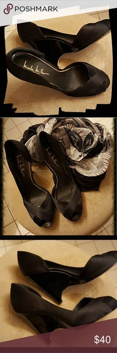 BLACK SILK DRESS SHOES WITH PATENT HEELS These NICOLE MILLER D'ORSAY PUMPS are perfect for that special occasion but can easily transition to being worn w/ slacks for a more casual look. Used but never abused! In good condition. Nicole Miller Shoes Heels