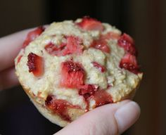 Strawberry Shortcake Muffins: uses Oats, not wheat flour  These are delicious! If you really blend the oats until they're more finely textured it results in a muffin texture that is just like traditional muffins made with flour.  Yay! I plan on using this recipe as my go-to muffin base.