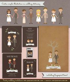 Custom Couple Portraits on wedding invitations by Poptastic Bride (http://poptasticbride.com/2014/03/custom-couple-illustrations-wedding-invitations)