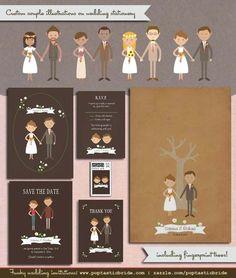 Custom Couple Portraits on wedding invitations by Poptastic Bride (http://poptasticbride.com/2014/03/custom-couple-illustrations-wedding-invitations)
