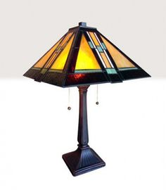 Mission Arts Craft Tiffany Style Stained Glass Table Lamp