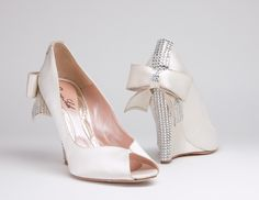 Aruna Seth - Cerise Ivory Satin Wedge with Swarovski Elements 110mm