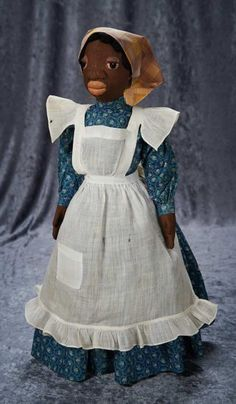 "Exceptional American Cloth Folk Doll, One-of-a-Kind, ""Nana"" by Dewees Cochran ~~omments: made by American artist Dewees Cochran in 1935, a one-of-a-kind doll named ""Nana"" by her. In her memoir, As If They Might Speak, Cochran wrote of this doll and featured her photograph in the Prologue and on page 121. Various correspondence from Dewees Cochran is included with the doll, including a January 1973 letter in which she confirmed of Nana that ""I only made one of her""."