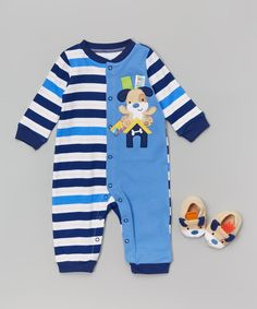 Taggies Blue Stripe Puppy Playsuit & Booties - Infant | zulily
