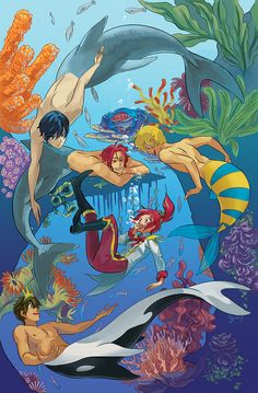 Iwatobi Swim Club - That's rough, buddy. Little mermaid inspired? Manga Anime, Art Manga, Anime Guys, Anime Art, Cartoon As Anime, Fantasy Creatures, Mythical Creatures, Character Art, Character Design