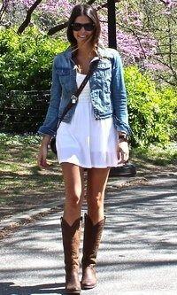 Jean jacket, Boots & little summer dress