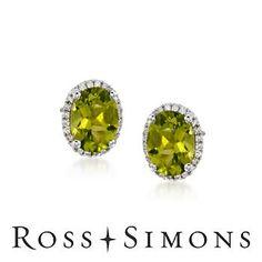 3.60ct t.w. Peridot Stud Earrings, .10ct t.w. Diamonds in Gold