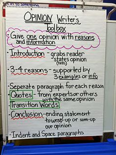 Opinion Writing Chart...I can't find it on the bog...but this is all you need...great chart!!!
