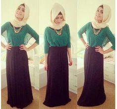 Black skirt green top hijab