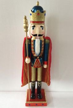 N301: 30 inch Nutcracker with Blue jacket and cape