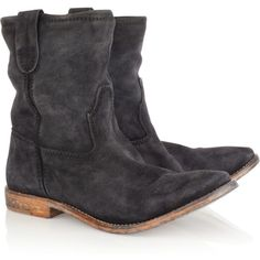 Isabel Marant The Jenny brushed-suede ankle boots ($625) ❤ liked on Polyvore