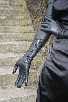 long kidskin leather gloves