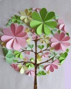 New Origami Blumen Basteln 33 Ideas New Origami Flowers Crafting 33 Ideas Flower Crafts, Diy Flowers, Paper Flowers, Paper Trees, Paper Leaves, Origami Flowers, Diy And Crafts, Crafts For Kids, Paper Crafts
