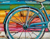 KUNSTDRUCK, Fahrrad Kunst, Strand, Fahrrad print, Mischtechnik-Gemälde, Sommer-Geschenk, Strand Dekor, Fahrrad-Art, Collage, bunt, alle Größen