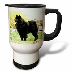 3dRose Black Chow, Travel Mug, 14oz, Stainless Steel